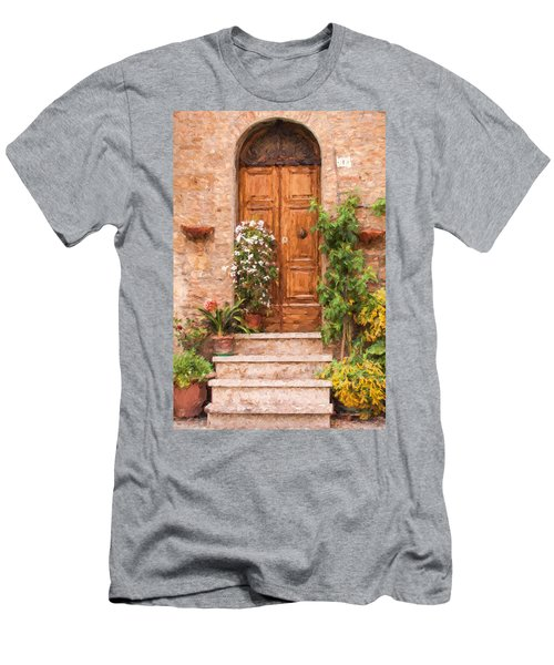 Brown Door Of Tuscany Men's T-Shirt (Athletic Fit)