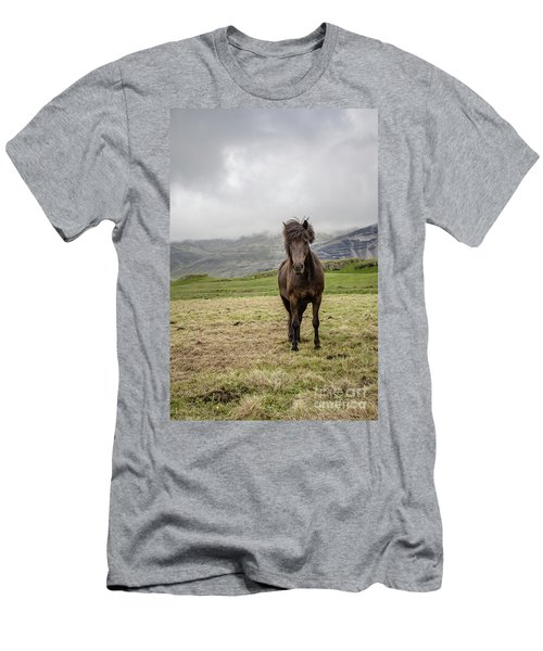 Men's T-Shirt (Athletic Fit) featuring the photograph Brown Icelandic Horse by Edward Fielding