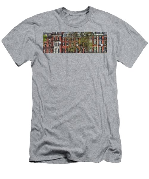Men's T-Shirt (Slim Fit) featuring the photograph Brownstone Panoramic - Beacon Street Boston by Joann Vitali