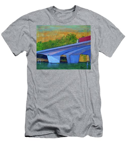 Men's T-Shirt (Slim Fit) featuring the painting Brunswick River Bridge by Paul McKey