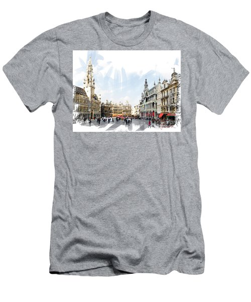 Men's T-Shirt (Slim Fit) featuring the photograph Brussels Grote Markt  by Tom Cameron