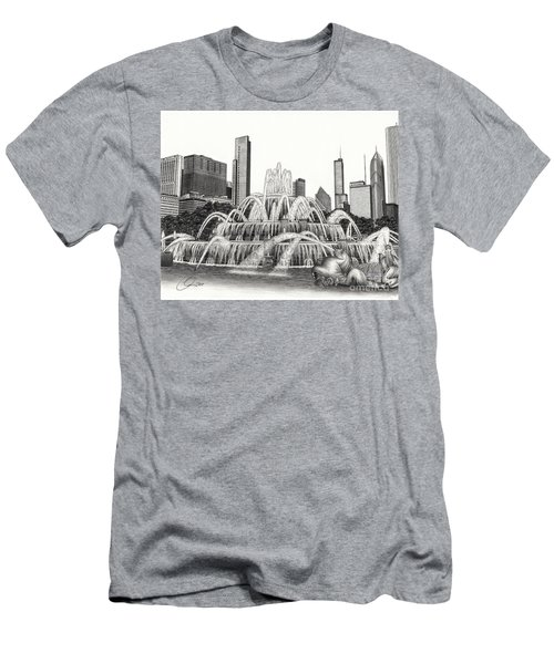 Buckingham Fountain Drawing Men's T-Shirt (Athletic Fit)