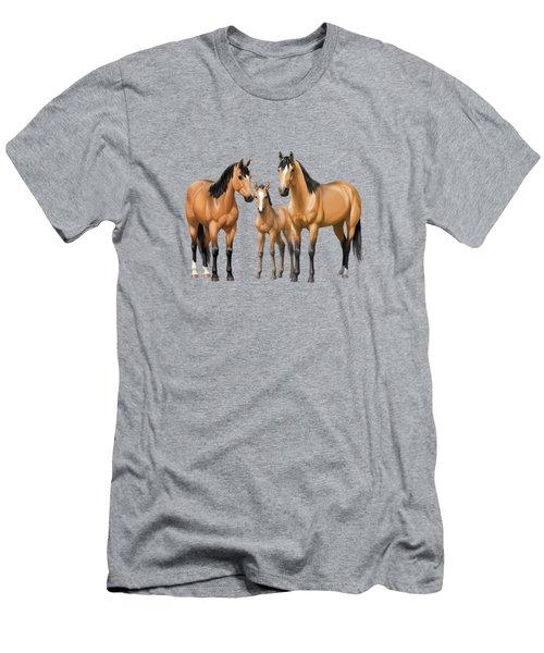 Buckskin Horses In Winter Pasture Men's T-Shirt (Athletic Fit)