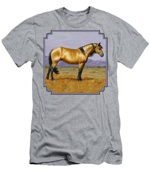 Buckskin Mustang Stallion Men's T-Shirt (Slim Fit) by Crista Forest