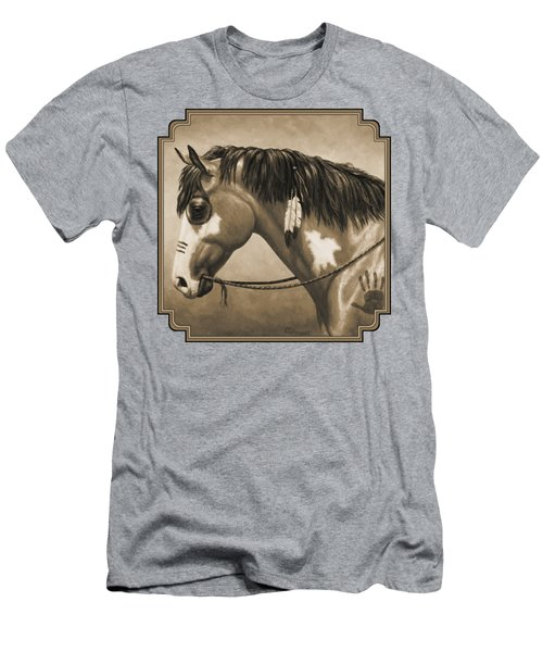 Buckskin War Horse In Sepia Men's T-Shirt (Slim Fit) by Crista Forest