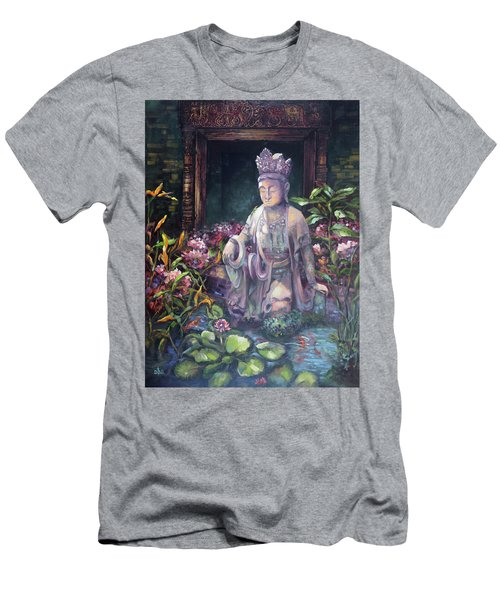 Budda Statue And Pond Men's T-Shirt (Athletic Fit)