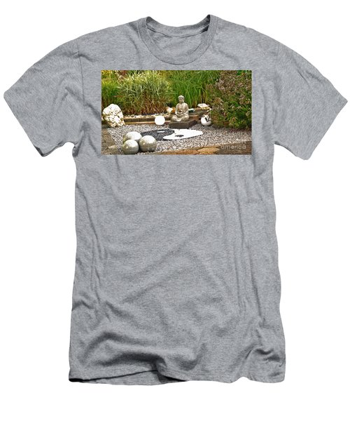 Buddha Looks At Yin And Yang Men's T-Shirt (Athletic Fit)