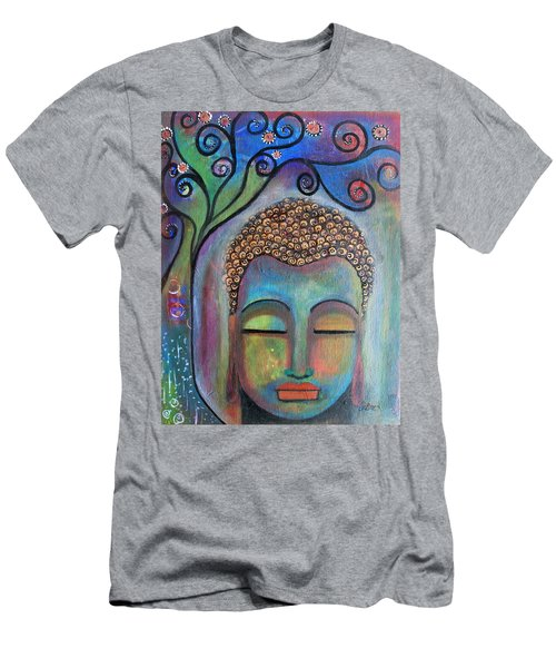 Men's T-Shirt (Slim Fit) featuring the painting Buddha With Tree Of Life by Prerna Poojara