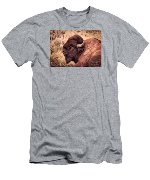 Men's T-Shirt (Slim Fit) featuring the photograph Buffalo Eye On You by Janice Rae Pariza