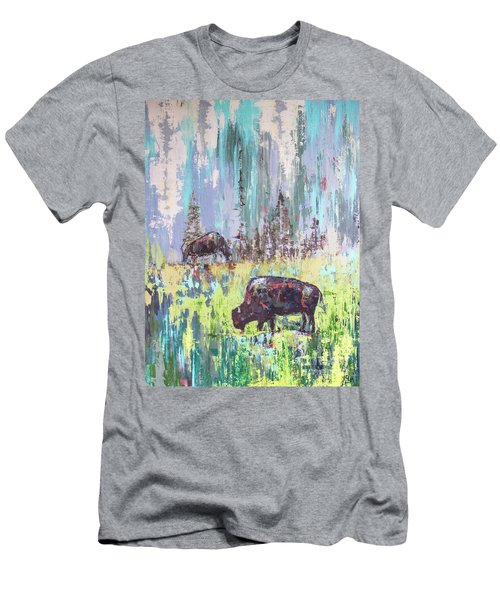 Buffalo Grazing Men's T-Shirt (Athletic Fit)