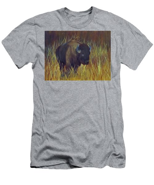 Men's T-Shirt (Slim Fit) featuring the painting Buffalo Grazing by Roseann Gilmore