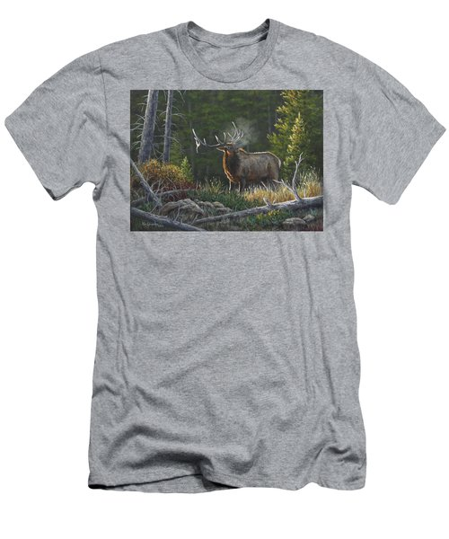 Men's T-Shirt (Slim Fit) featuring the painting Bugling Bull by Kim Lockman
