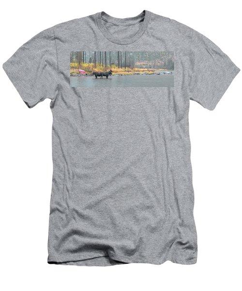 Bull And Cow Moose In East Rosebud Lake Montana Men's T-Shirt (Athletic Fit)