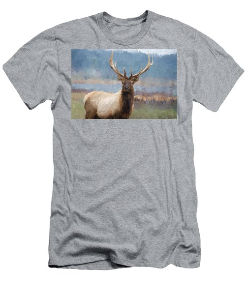 Bull Elk By The River Men's T-Shirt (Slim Fit) by Debra Baldwin