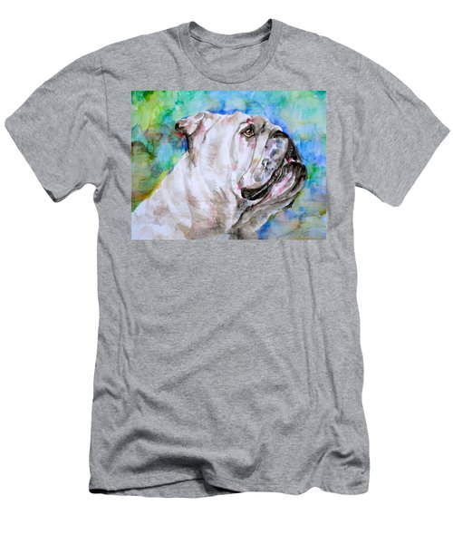 Men's T-Shirt (Slim Fit) featuring the painting Bulldog - Watercolor Portrait.4 by Fabrizio Cassetta