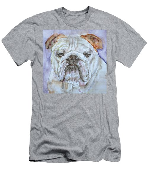 Men's T-Shirt (Slim Fit) featuring the painting Bulldog - Watercolor Portrait.5 by Fabrizio Cassetta