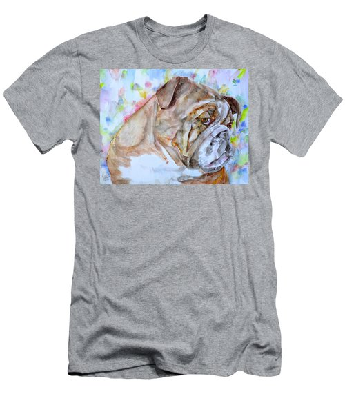 Men's T-Shirt (Slim Fit) featuring the painting Bulldog - Watercolor Portrait.7 by Fabrizio Cassetta