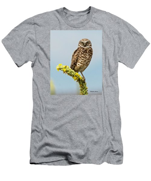 Burrowing Owl On Mullein Plant Men's T-Shirt (Slim Fit) by Stephen  Johnson