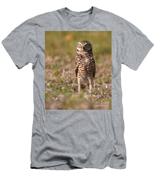 Men's T-Shirt (Slim Fit) featuring the photograph Burrowing Owl Standing Tall by Myrna Bradshaw