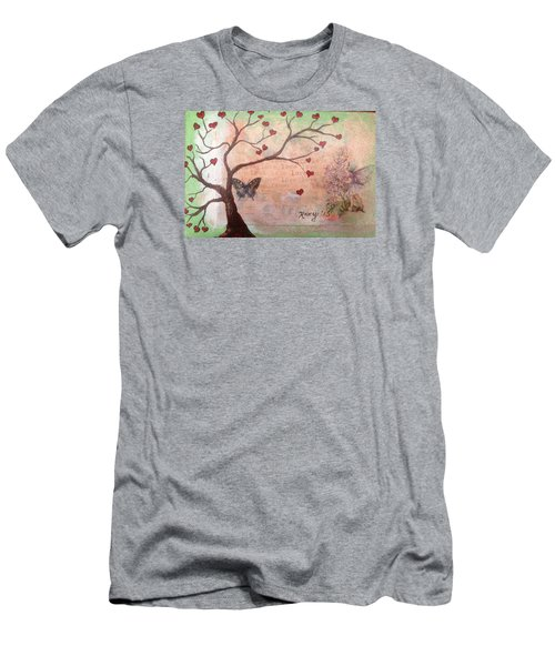 Butterfly Fairy Heart Tree Men's T-Shirt (Athletic Fit)