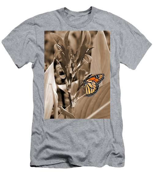 Butterfly In Sepia Men's T-Shirt (Slim Fit) by Lauren Radke