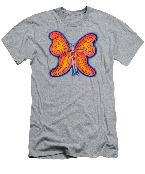 Men's T-Shirt (Slim Fit) featuring the painting Butterfly Mantra by Deborha Kerr