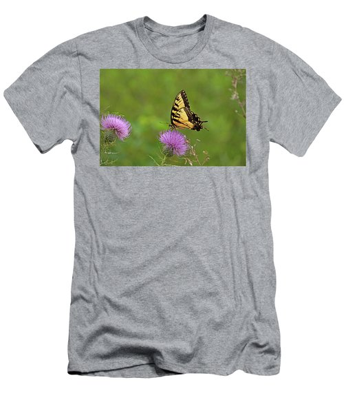 Men's T-Shirt (Slim Fit) featuring the photograph Butterfly On Thistle by Sandy Keeton