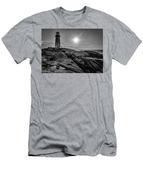 Bw Of Iconic Lighthouse At Peggys Cove  Men's T-Shirt (Slim Fit) by Ken Morris