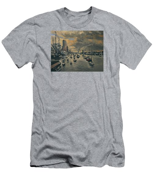 Men's T-Shirt (Slim Fit) featuring the painting Bye Bye Sail Amsterdam by Nop Briex