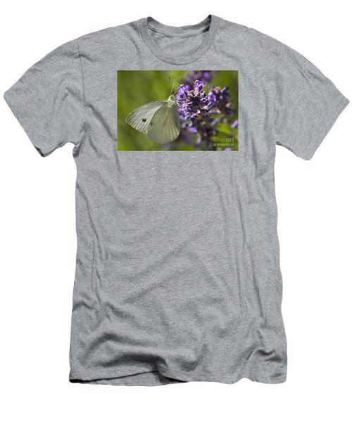 Men's T-Shirt (Slim Fit) featuring the photograph Cabbage White Butterfly by Inge Riis McDonald