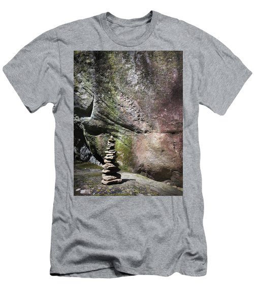 Cairn Rock Stack At Jones Gap State Park Men's T-Shirt (Athletic Fit)