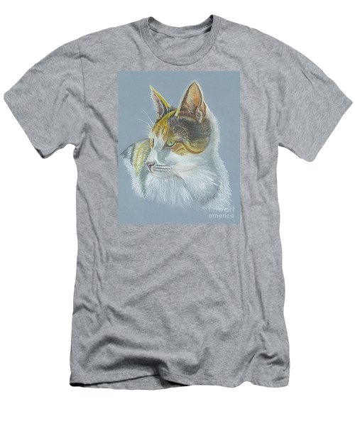 Men's T-Shirt (Slim Fit) featuring the drawing Calico Callie by Carol Wisniewski