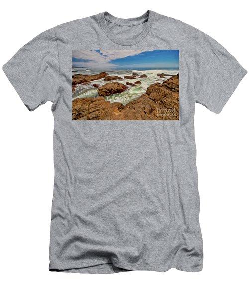 California Coast Waves On Rocks Ap Men's T-Shirt (Slim Fit) by Dan Carmichael