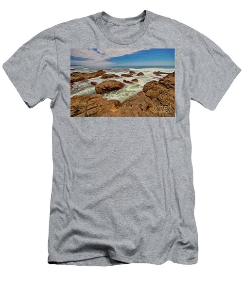 California Coast Waves On Rocks Ap Men's T-Shirt (Athletic Fit)