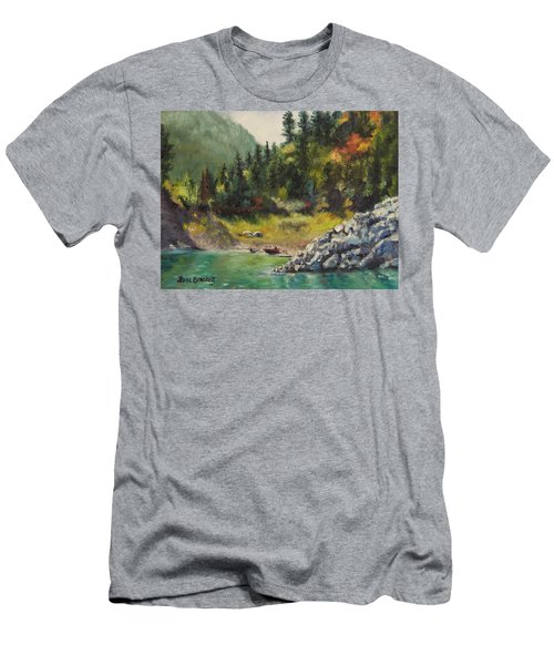 Camping On The Lake Shore Men's T-Shirt (Slim Fit) by Lori Brackett