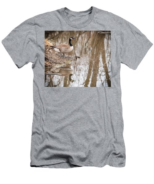 Men's T-Shirt (Slim Fit) featuring the photograph Canada Geese Reflection by Edward Peterson
