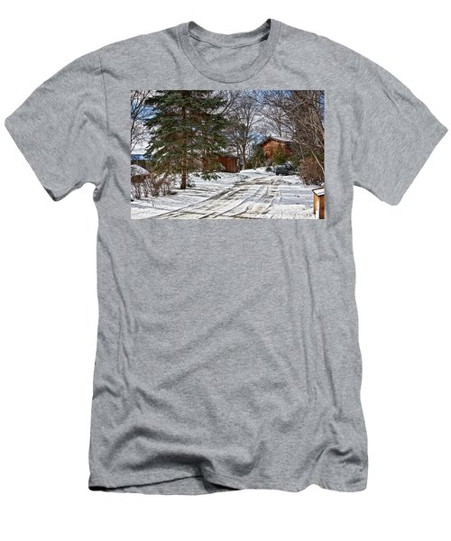 Men's T-Shirt (Athletic Fit) featuring the photograph Canadian Winter Scene by Tatiana Travelways