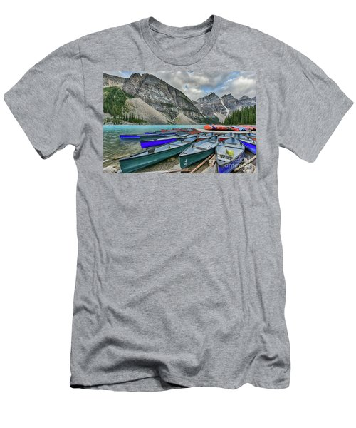 Canoes On Moraine Lake  Men's T-Shirt (Athletic Fit)