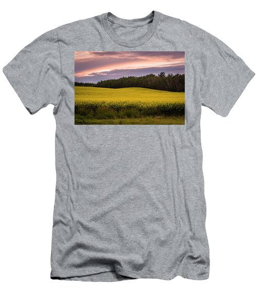 Men's T-Shirt (Slim Fit) featuring the photograph Canola Crop Sunset by Darcy Michaelchuk