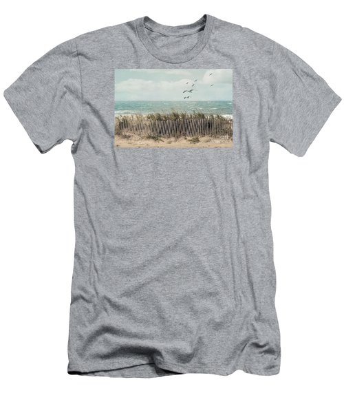 Cape Cod Beach Scene Men's T-Shirt (Slim Fit) by Juli Scalzi