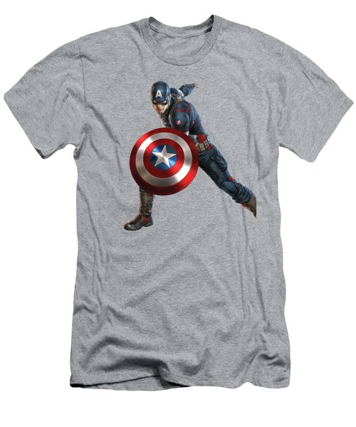 Men's T-Shirt (Slim Fit) featuring the mixed media Captain America Splash Super Hero Series by Movie Poster Prints