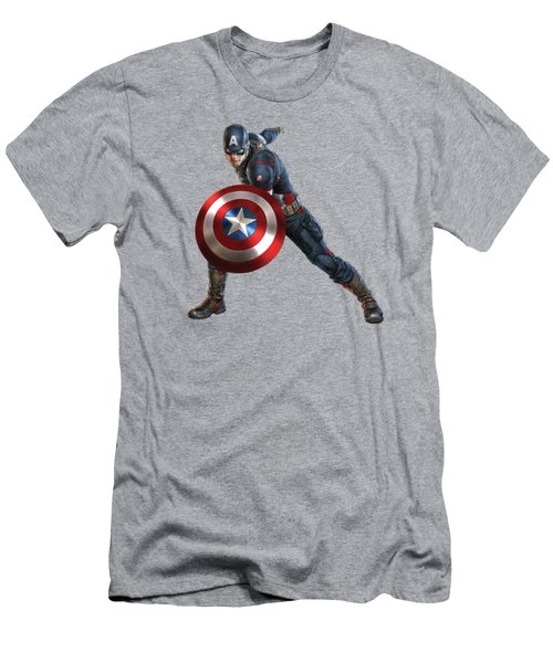 Captain America Splash Super Hero Series Men's T-Shirt (Athletic Fit)