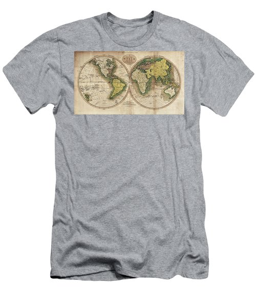 Men's T-Shirt (Slim Fit) featuring the photograph Carey's Map Of The World  1795 by Daniel Hagerman