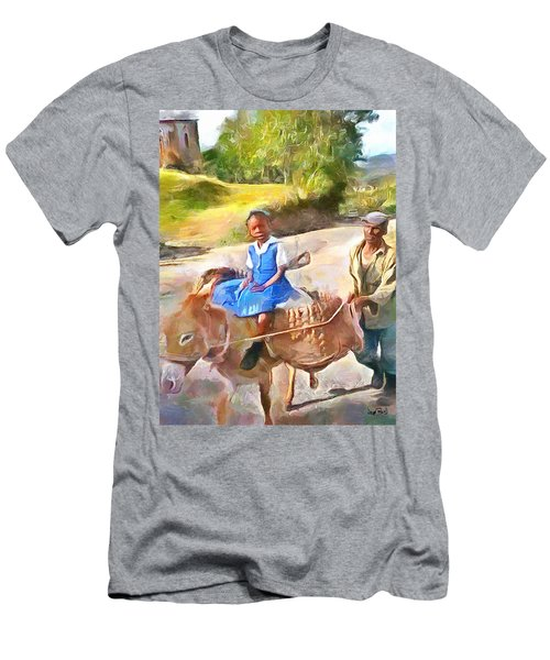 Caribbean Scenes - School In De Country Men's T-Shirt (Slim Fit) by Wayne Pascall