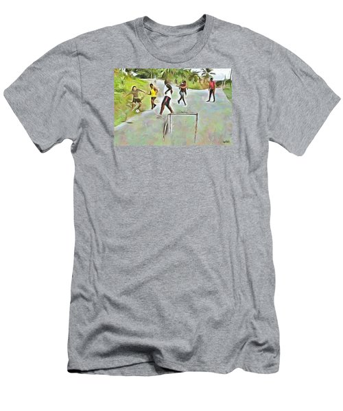 Men's T-Shirt (Slim Fit) featuring the painting Caribbean Scenes - Small Goal In De Street by Wayne Pascall