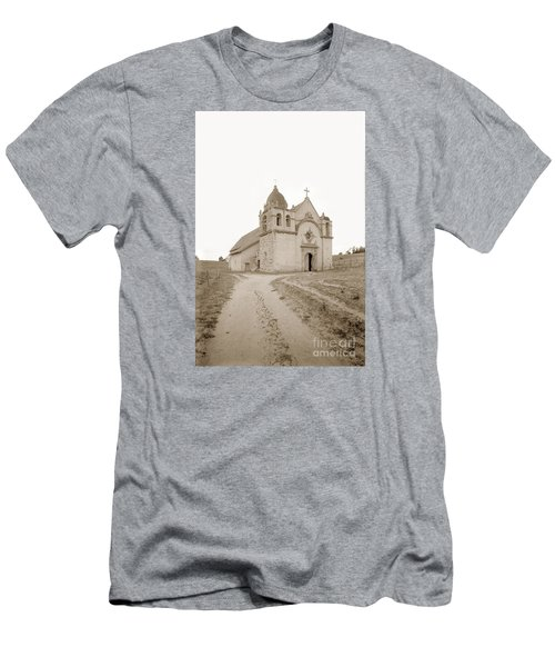 Carmel Mission South Side Circa 1915 Men's T-Shirt (Slim Fit) by California Views Mr Pat Hathaway Archives