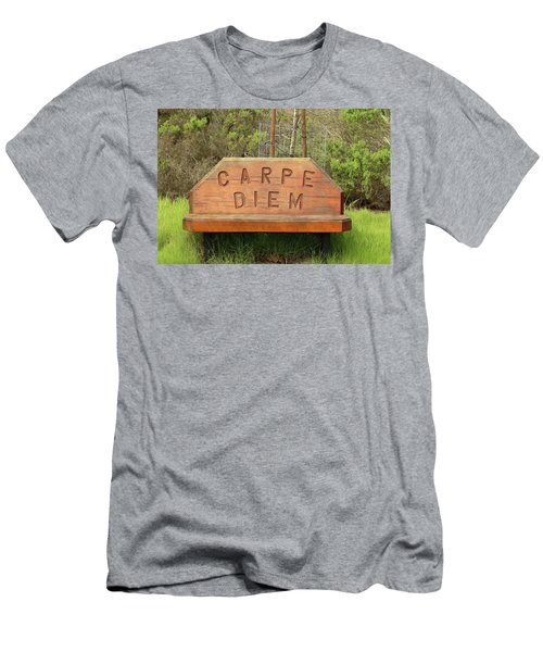 Men's T-Shirt (Slim Fit) featuring the photograph Carpe Diem Bench by Art Block Collections