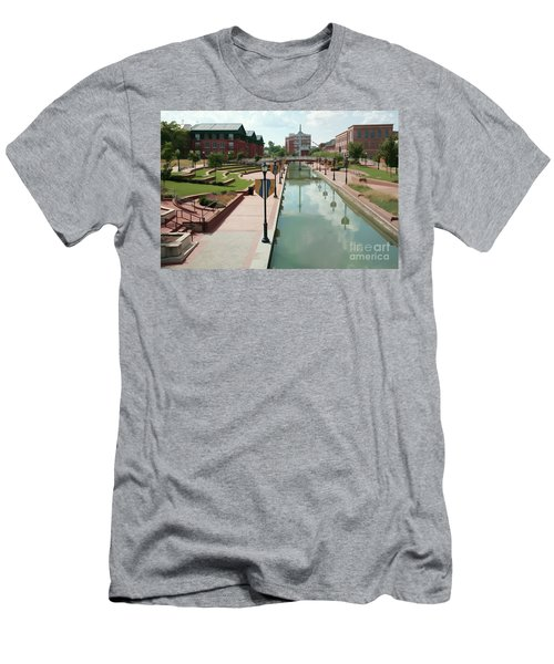 Carroll Creek Park In Frederick Maryland With Watercolor Effect Men's T-Shirt (Athletic Fit)