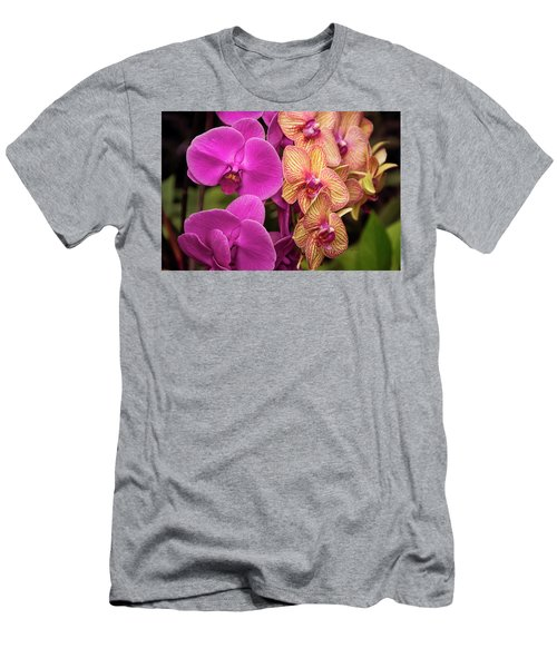 Men's T-Shirt (Athletic Fit) featuring the photograph Cascading Orchids by Penny Lisowski