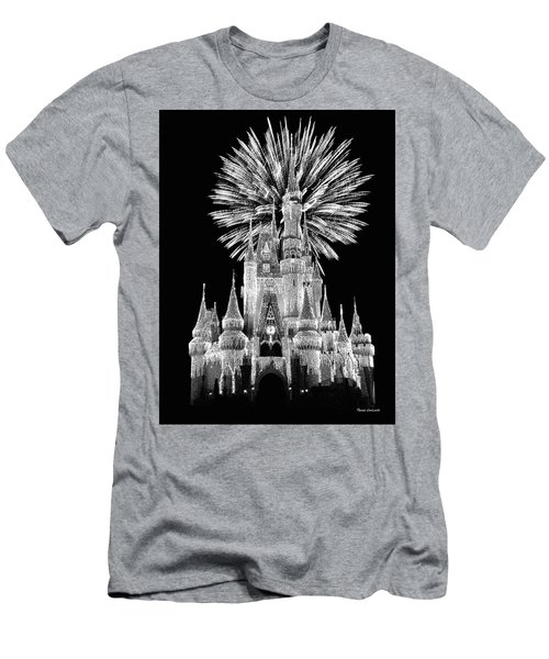 Castle With Fireworks In Black And White Walt Disney World Mp Men's T-Shirt (Slim Fit) by Thomas Woolworth